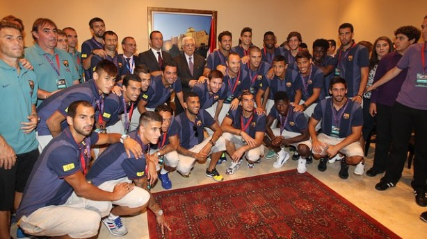 Palestinian PM Mahmoud Abbas and Barcelona Team